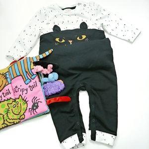 Cat & Jack Cat Ruffle Pajamas Romper Outfit 6 -9 M